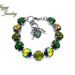 Jewelry - Swarovski Crystal Bracelet, 12mm Olive Green Mix